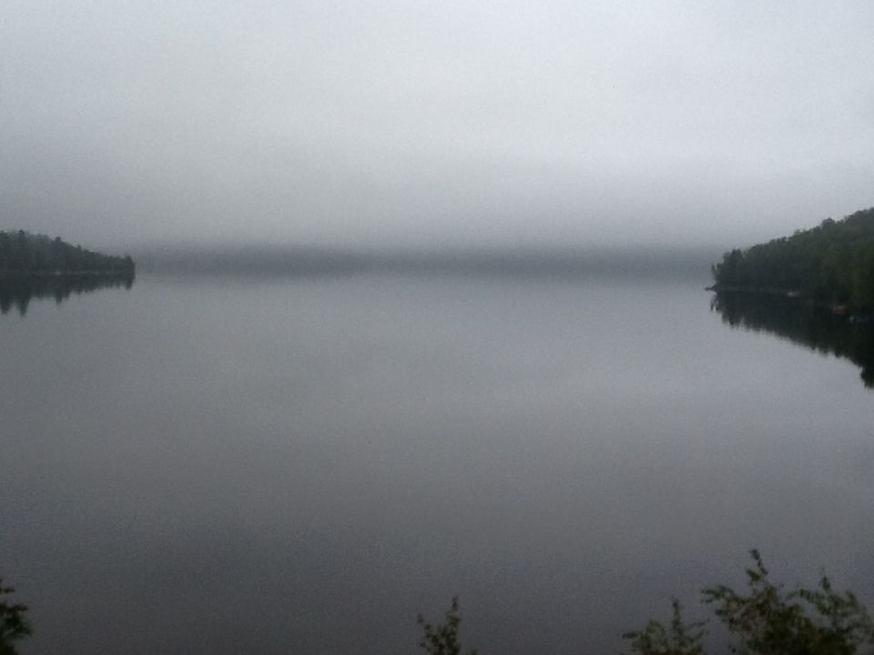 Misty morning on Drag Lake, Haliburton, Ontario, Canada