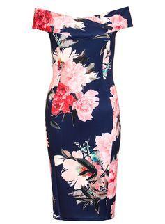596c3a92f5f Quiz Navy Floral Bardot Midi Dress