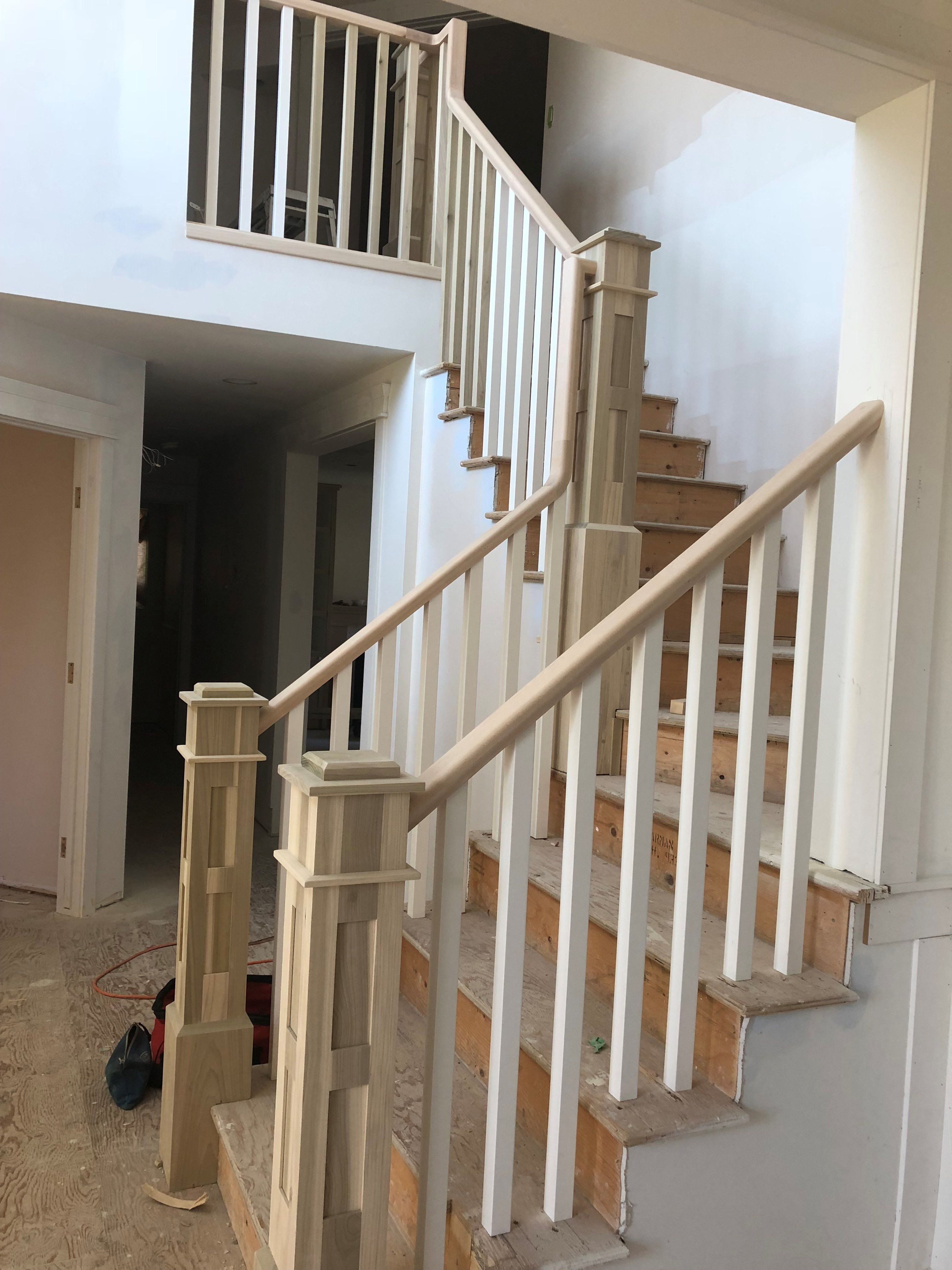 Front Entrance Reno Update Railing Front Entrances Entrance   Shaker Style Newel Post   Stair Newel   Farmhouse   Stained   Porch   Shingle Style