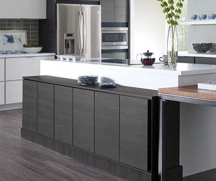 Derazi Textured Laminate Obsidian Mine Two Tone Kitchen Cabinets