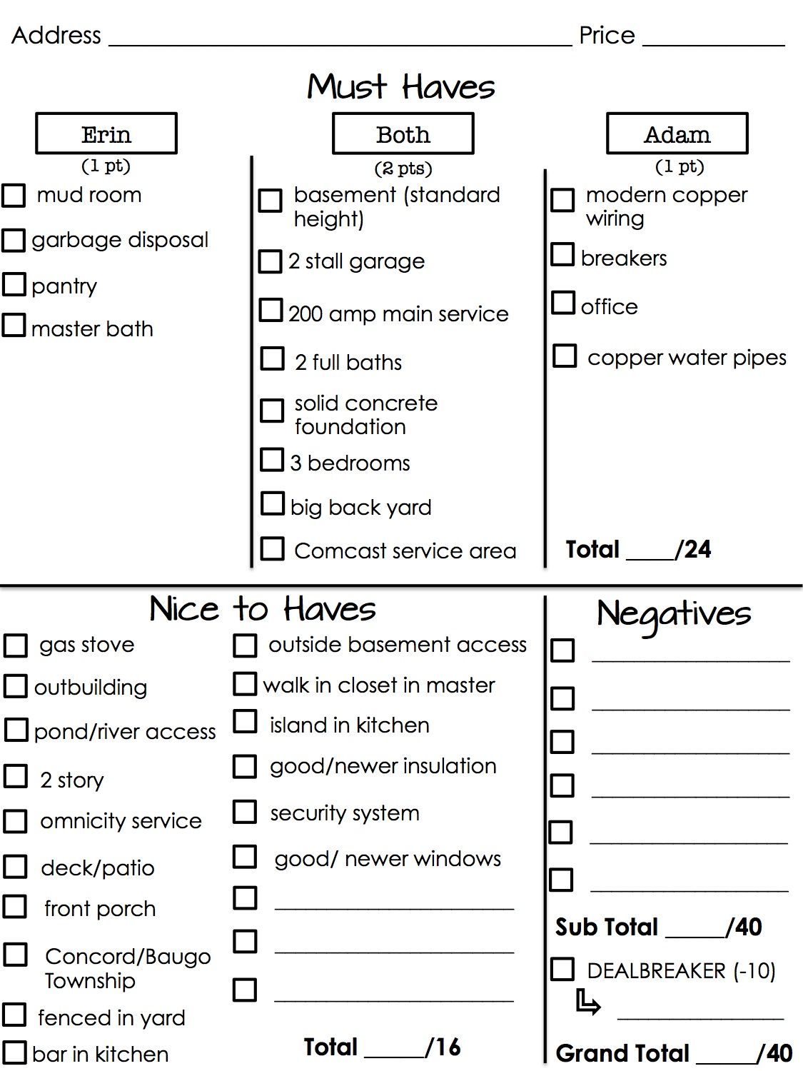 House Hunting Score Sheet So Genius For Anyone Looking For Their Next Great Place