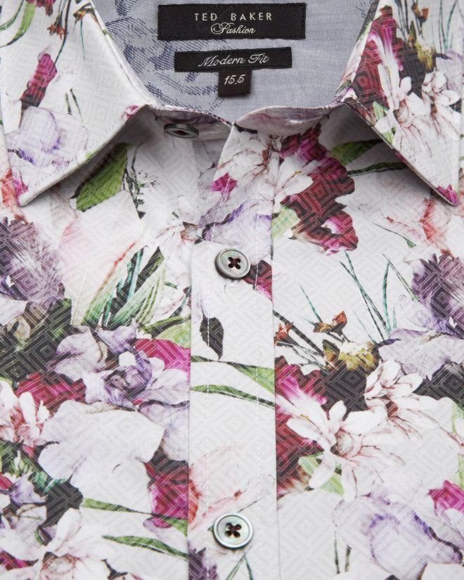 Floral print cotton shirt - White   Shirts   Ted Baker