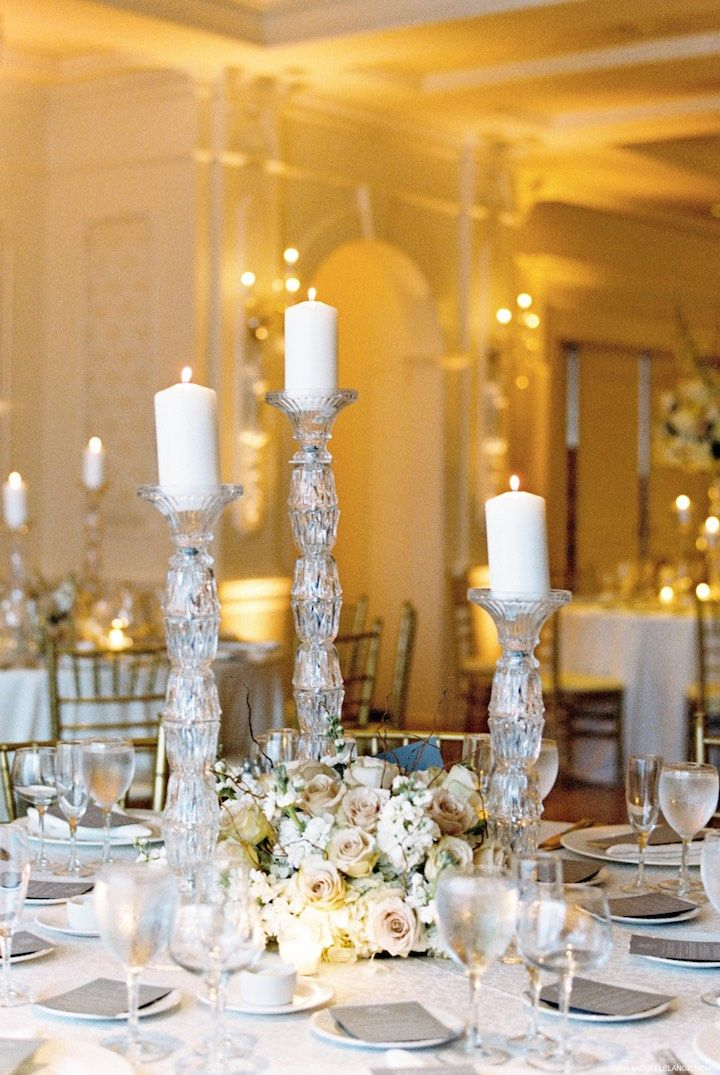 Photographer Michelle Lange Photography Ivory And Gold Ballroom Wedding Reception Idea