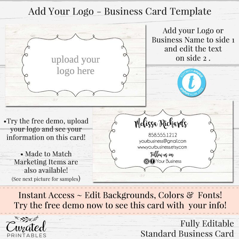 Basic Business Card Template Diy Business Card Editable Business