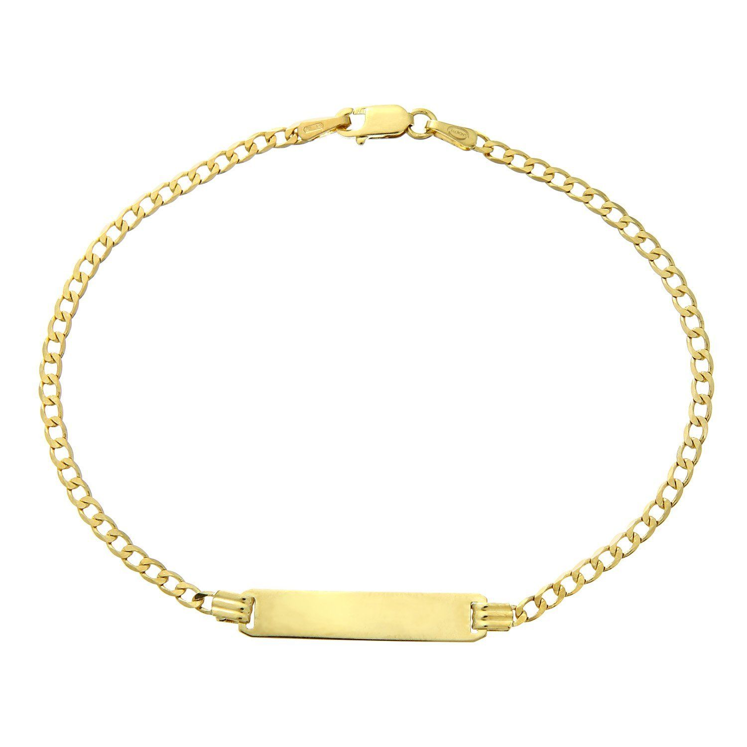 Citerna 9 ct Yellow Gold Curb ID Bracelet of 7.5 Inch/19 cm Length and 0.6 cm Width bLCFLNn8