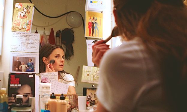 Louise Brealey preparing backstage at The Gate Theatre