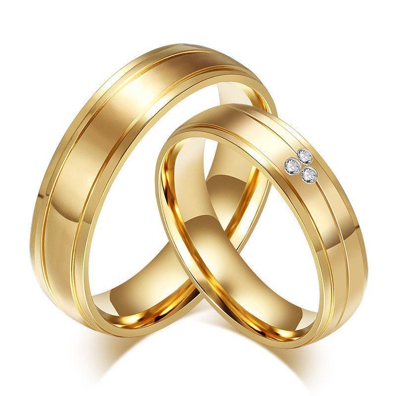 CZ diamond 18k gold plated ring women men wedding rings couple ...