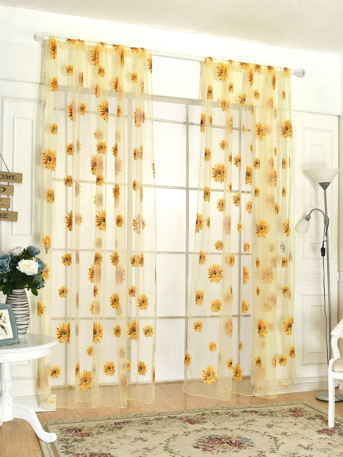 bba4519a18 Sunflower Print Rod Pocket Sheer Curtain 1pc | Kitchen | Bedroom ...