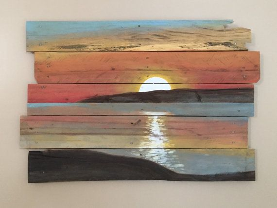 Sunset On Reclaimed Pallet Wood Pallet Art Wood Art Pallet Painting