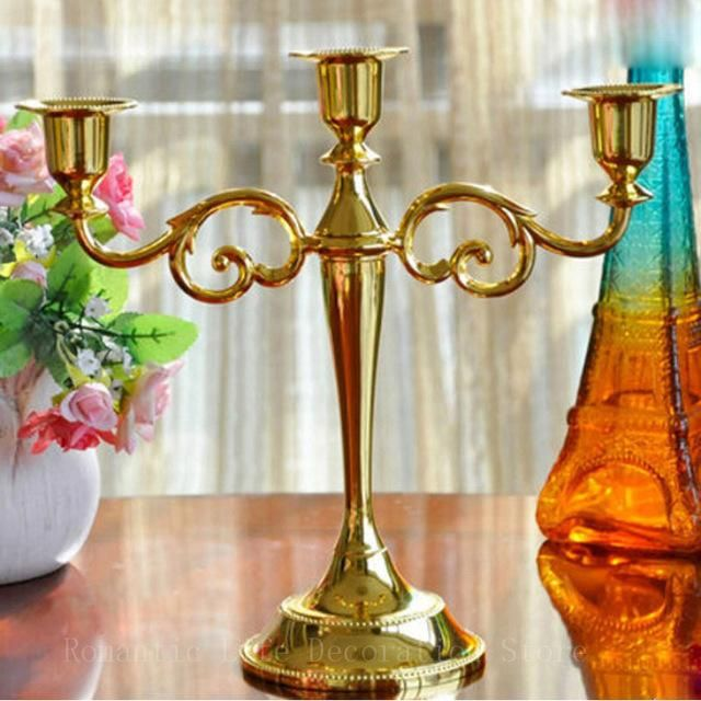 Hot Metal Silver/Gold Plated Candle Holders 3-Arms Stand Zinc Alloy High Quality & Hot Metal Silver/Gold Plated Candle Holders 3-Arms Stand Zinc Alloy ...