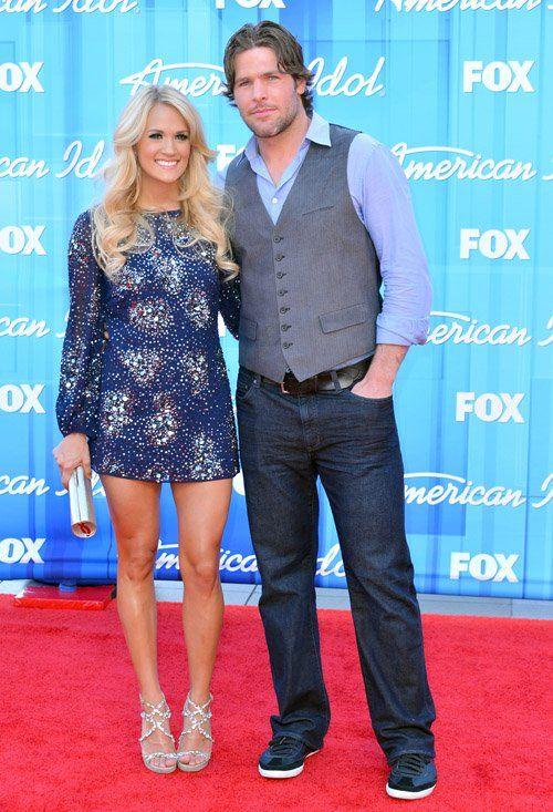 Carrie Underwood in Badgley Mischka Orion Sequin Orbit sheath at 2012 American Idol finale.