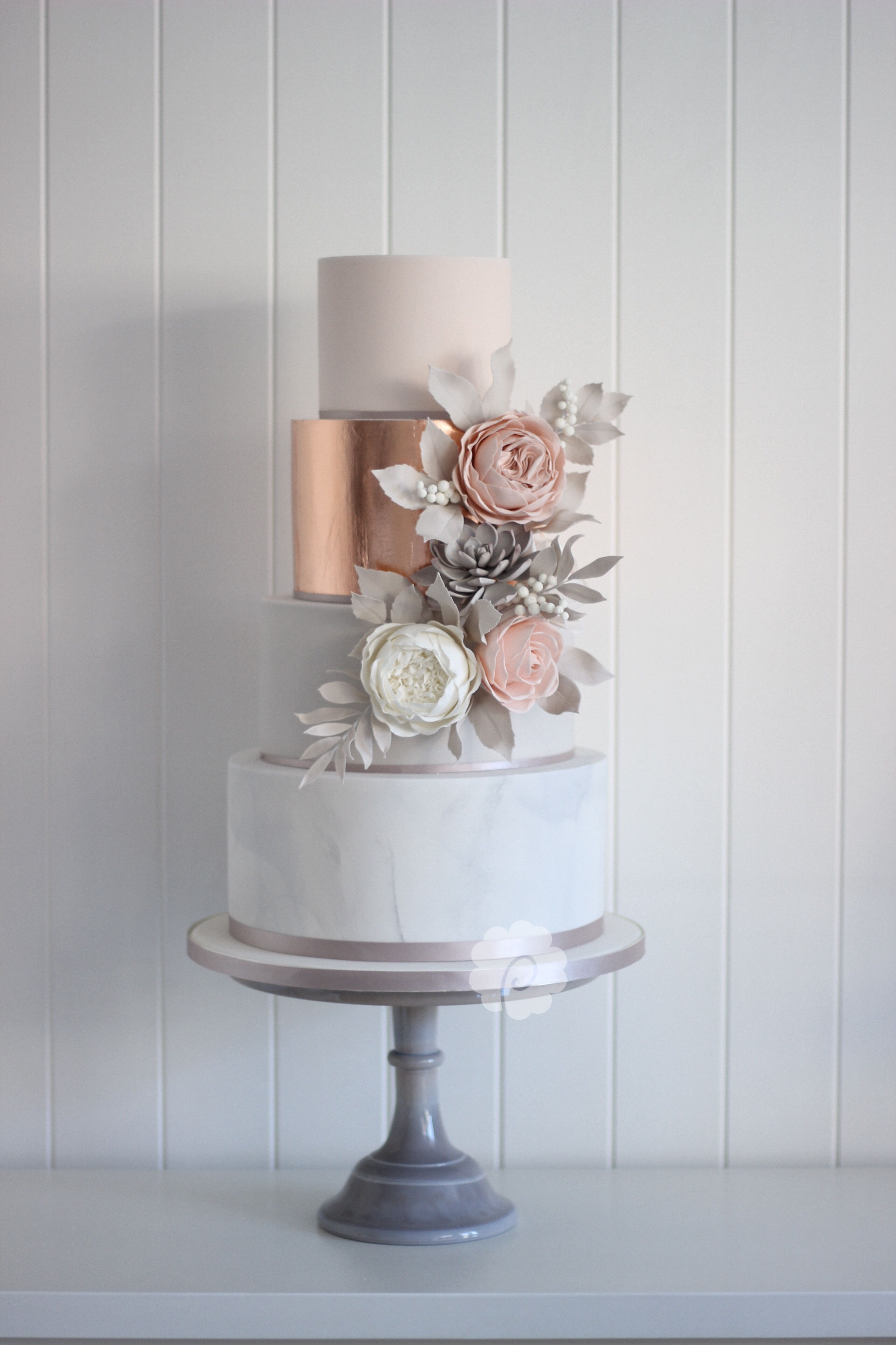 Modern Rose Gold Marble Wedding Cake With Sugar Flowers And
