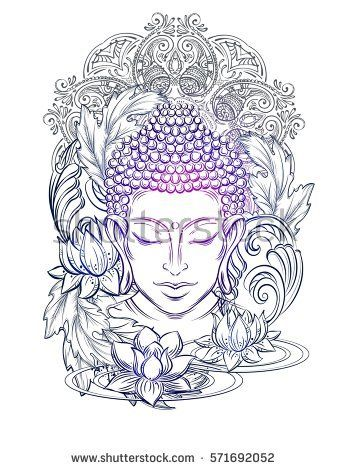 Buddha head - elegant vector illustration. The symbol of Hinduism, Buddhism, spirituality and enlightenment. Tattoo, illustration, printing on fabric