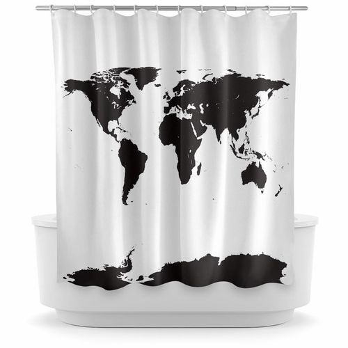 Opima world map black shower curtain modern bath essentials opima world map black shower curtain gumiabroncs Gallery