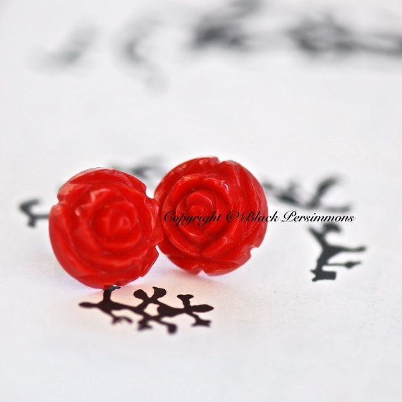 New Ilona Earrings Carved Look Rose Resin By Blackpersimmons