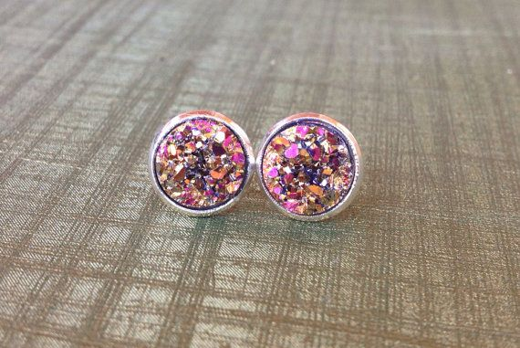 Rose gold Druzy l stud earrings l druzy stone  By HybridMomentsDesigns, $8.00