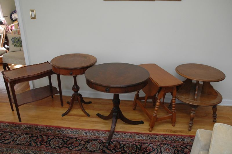 5 Side Tables, Round Two Tier Table, Pair Of Round Pedestal Tables With