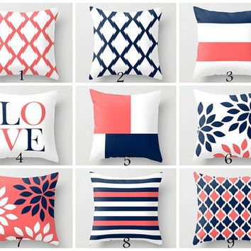 Throw Pillow Covers Navy Coral White Navy Blue Pillow Typography Art  Contemporary Decor Throw Pillow Covers