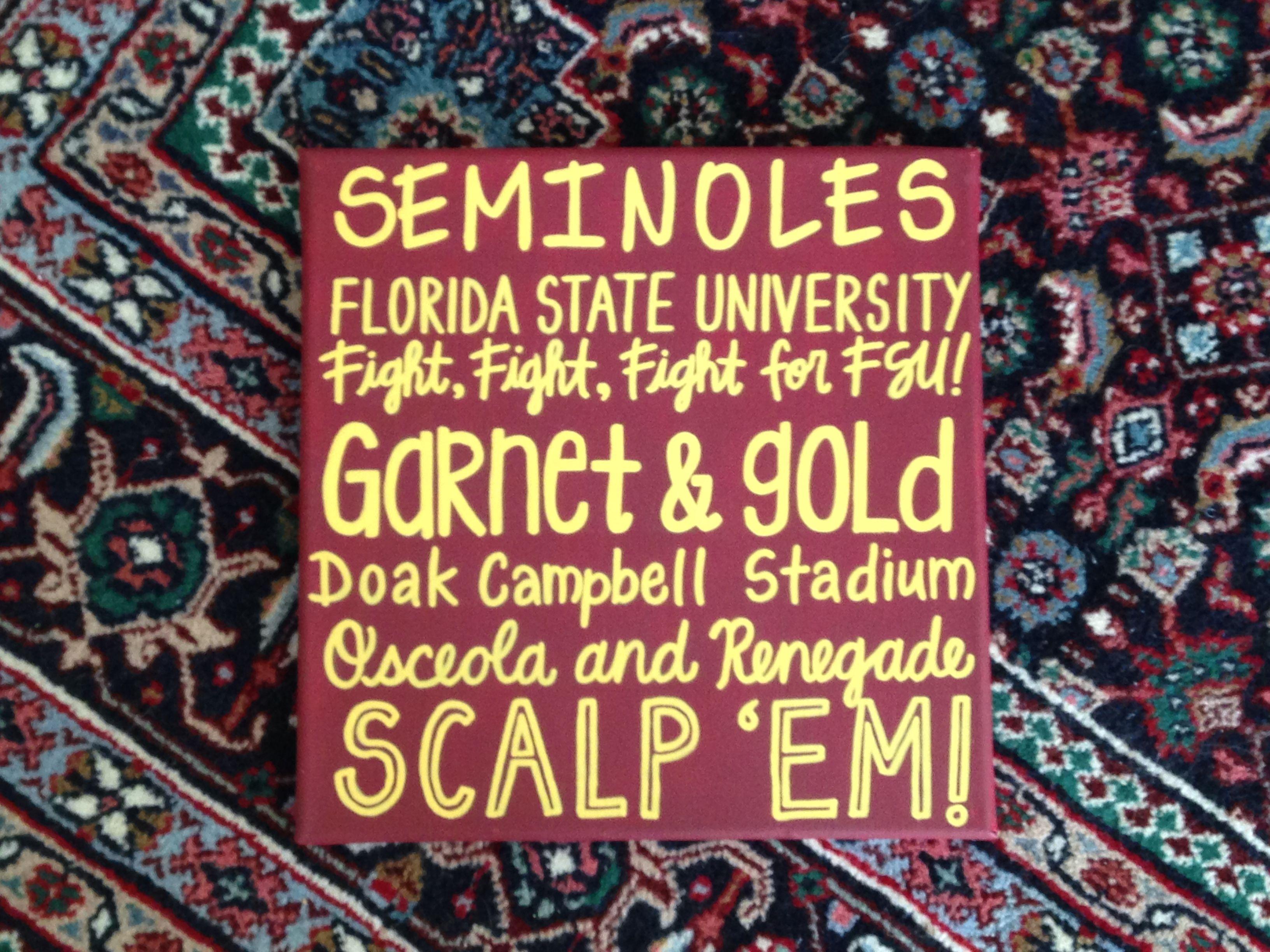 FSU Hand Painted Canvas 12x12 - GO NOLES! | Florida State