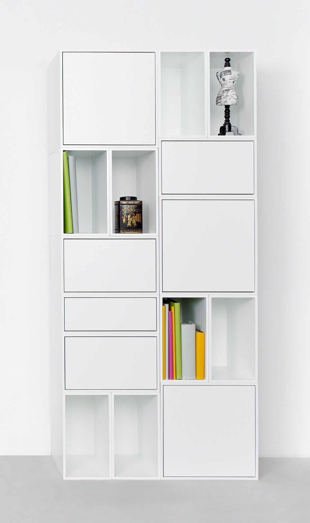 Sectional lacquered MDF bookcase Modular storage wall by Cubit by ...