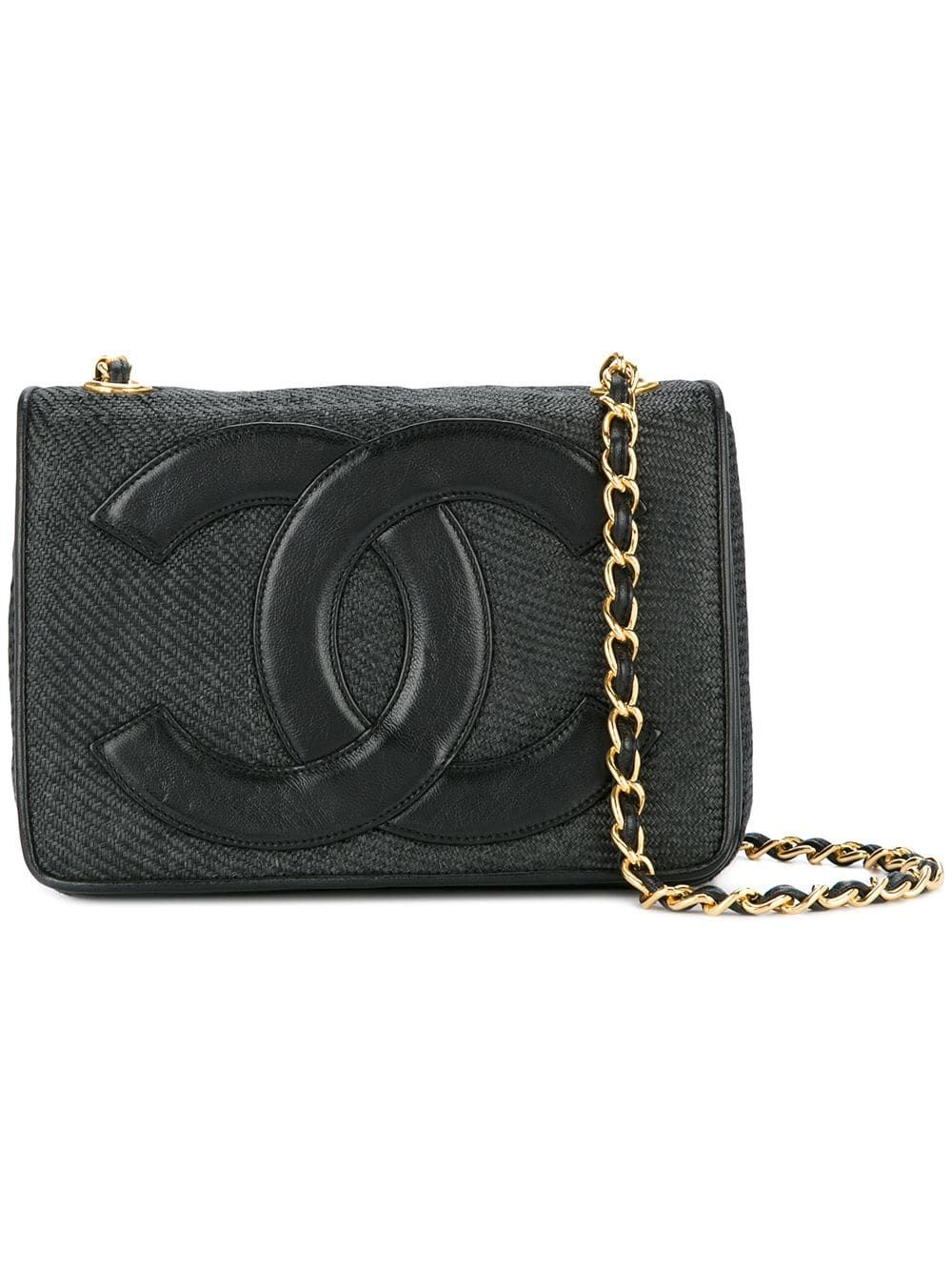 ec46798a06 Chanel Pre-Owned logo patch shoulder bag - Black in 2019 | Products ...