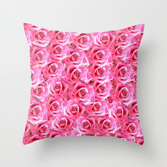 Lots of pink roses Throw Pillow