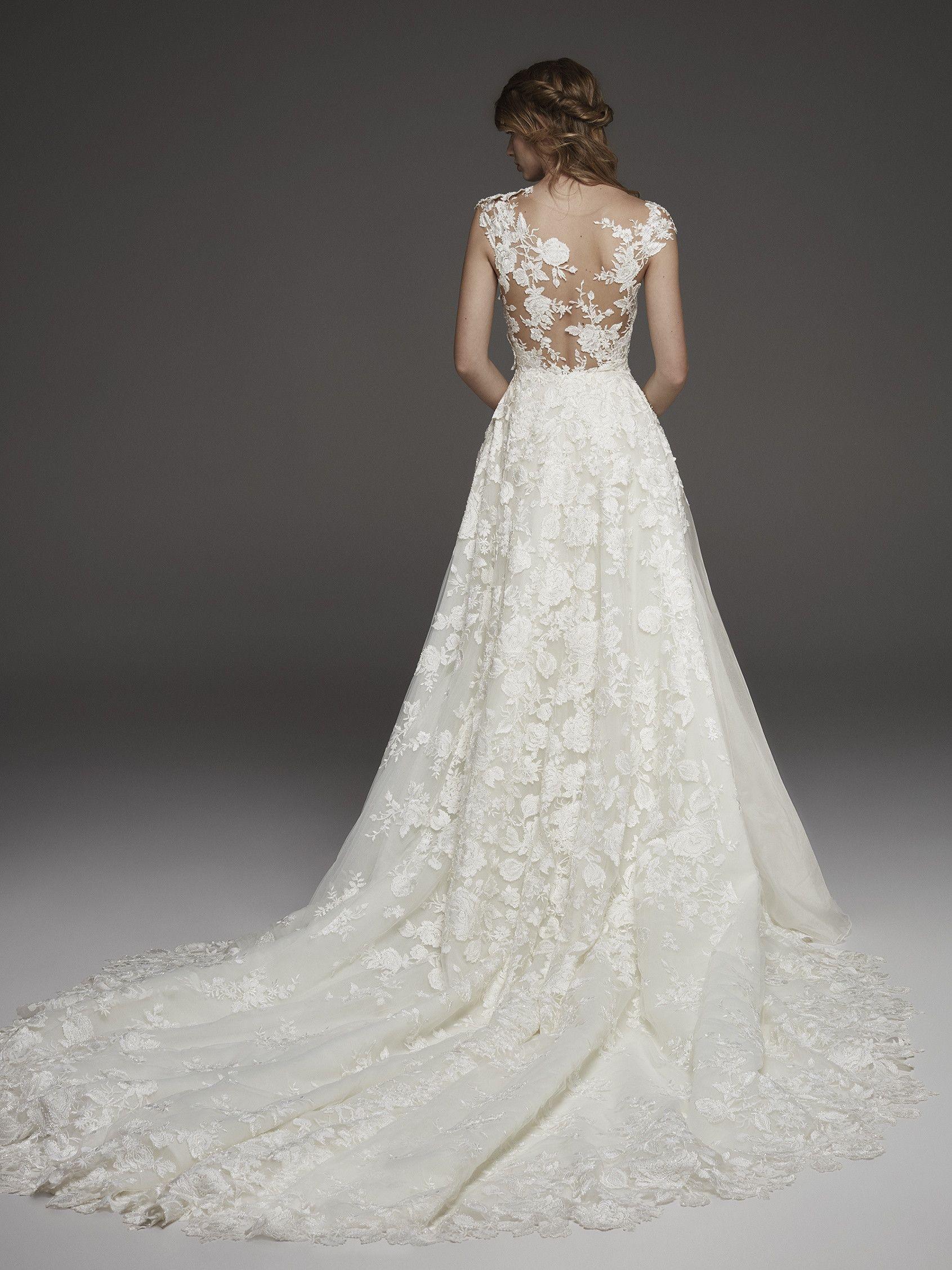 Princess Wedding Dress With Thread Embroidered Flowers Haya Pronovias Wedding Dresses Pronovias Wedding Dress Illusion Wedding Dress