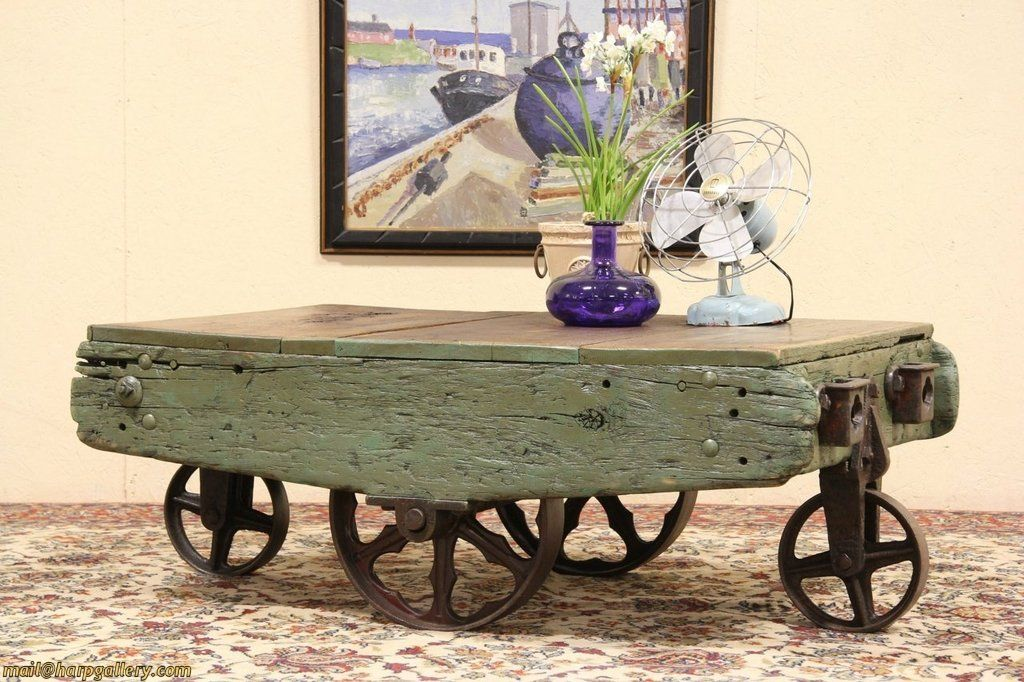 Railroad Industrial Cart Coffee Or Cocktail Table From Harpgallery On Ruby  Lane