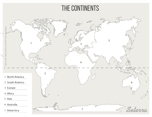 Key for printable continents map quiz (pdf) | World map ...