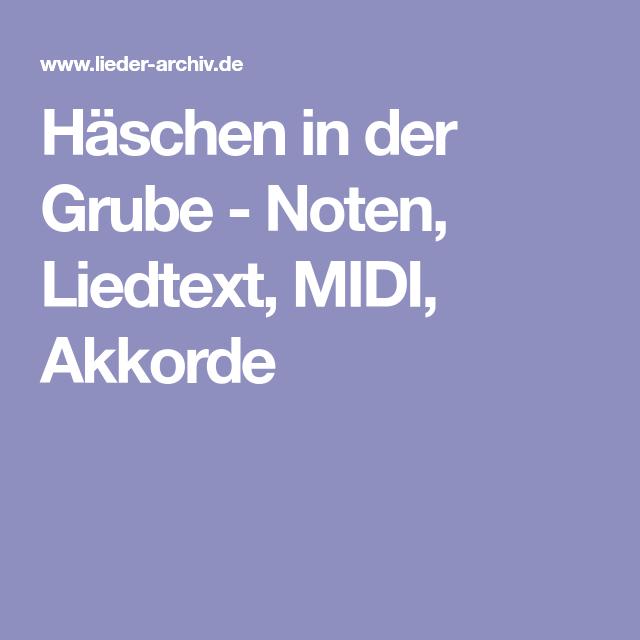Häschen in der Grube - Noten, Liedtext, MIDI, Akkorde