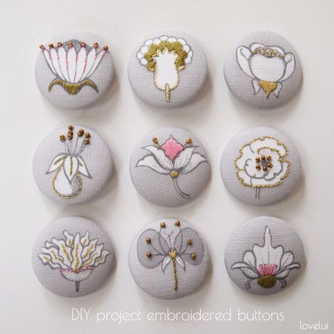 DIY Embroidered Button Project - Botanical Button Panel   lovelui