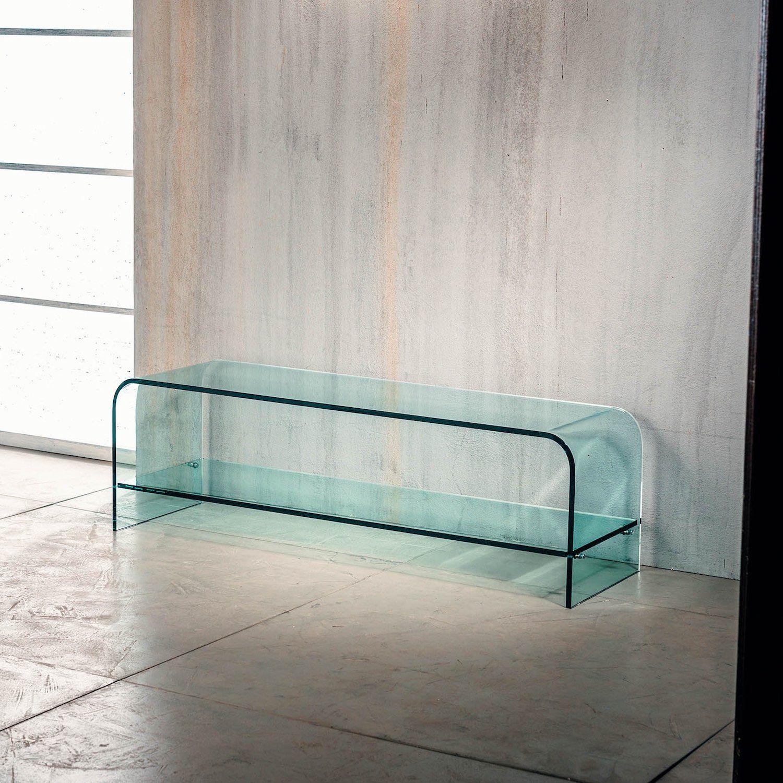 Porta Scorrevole Vetro 120 Cm porta tv cristallo curvato