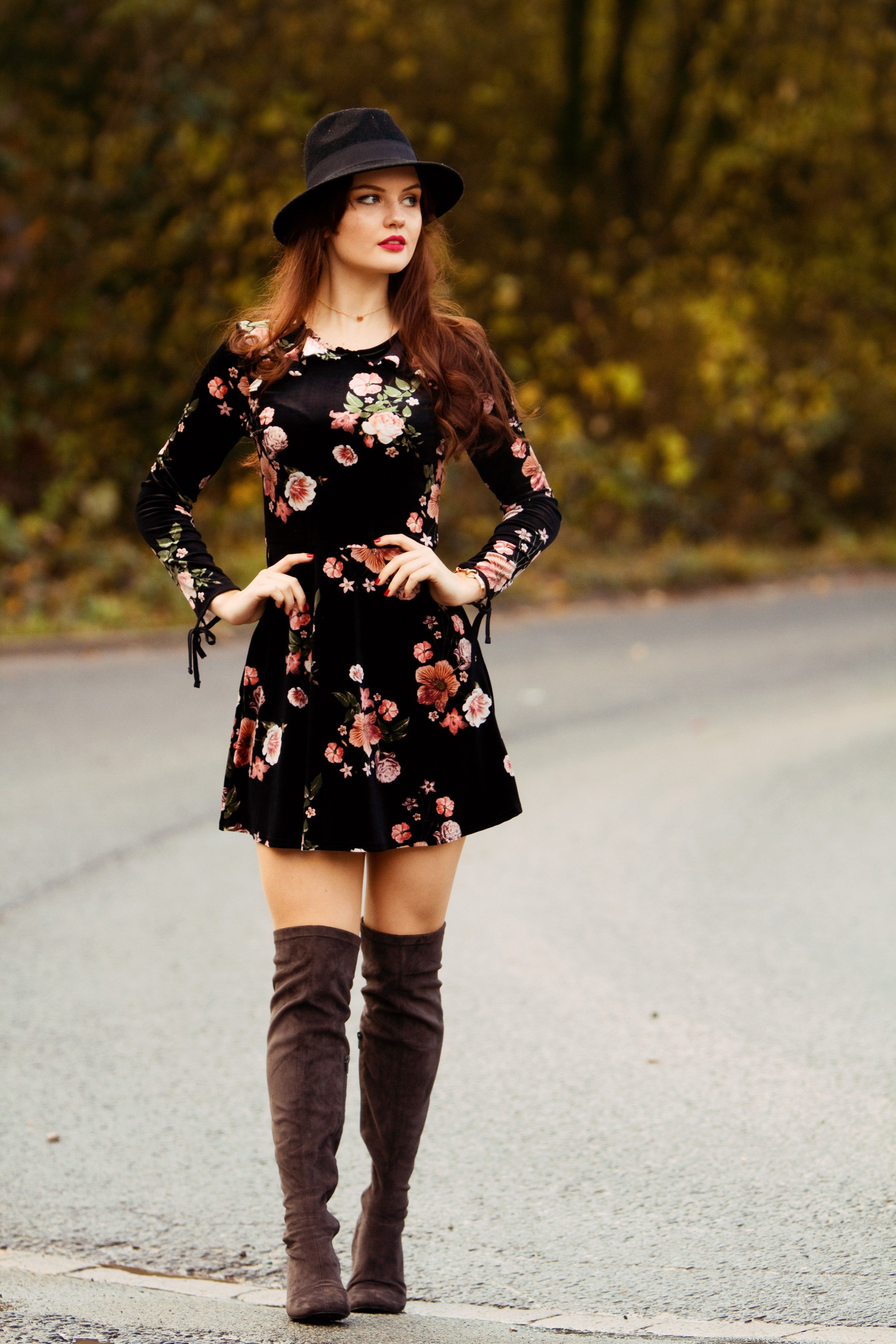 0e1da58ef2 floral skater dress with fedora and over the knee boots | how to ...