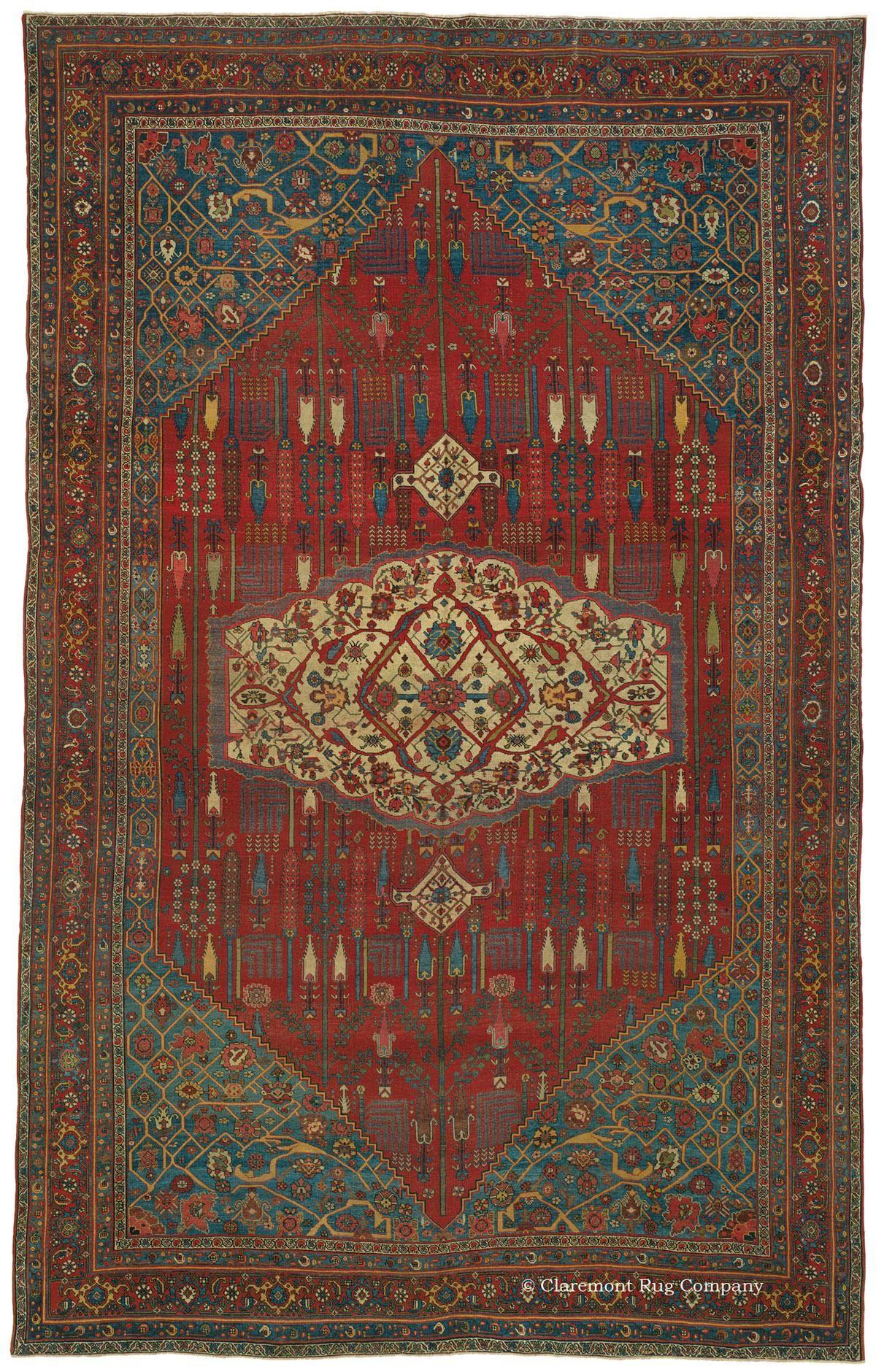 HALVAI BIJAR, Northwest Persian 9ft 4in x 14ft 11in Circa 1875 http://www.claremontrug.com/antique-oriental-rugs-carpets/antique-rugs-HALVAI+BIJAR%2c+Northwest+Persian-2736?