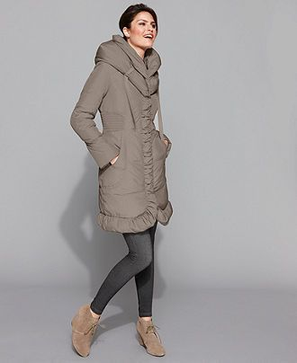 Tahari Petite Coat, Mariana Ruched Puffer - Womens Petite Coats ...