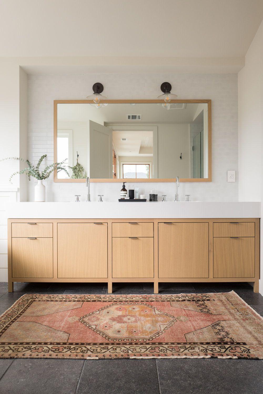 Large bathroom vanity + light wood vanity + think white