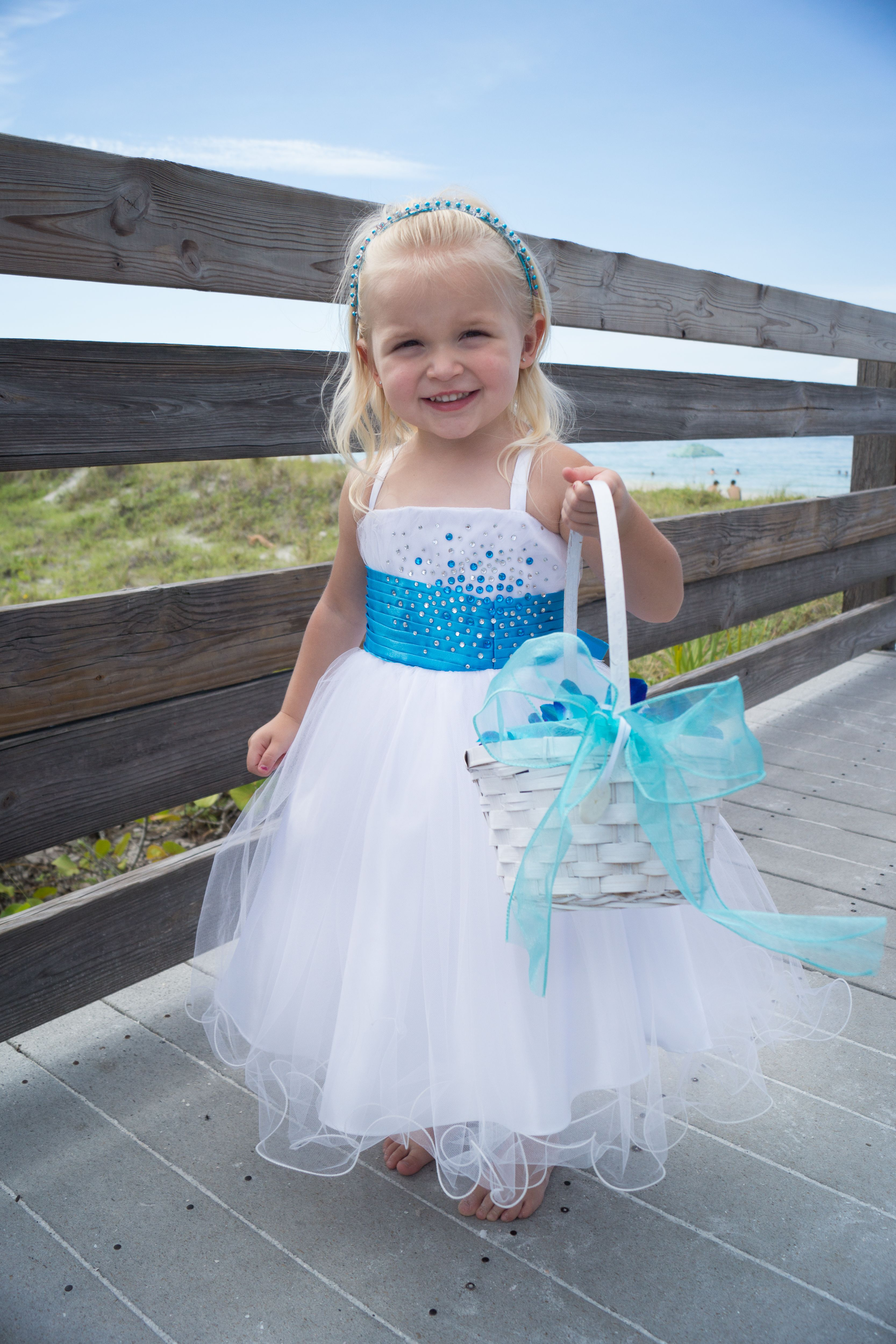 Pretty Little Flower Girl In White And Blue Www