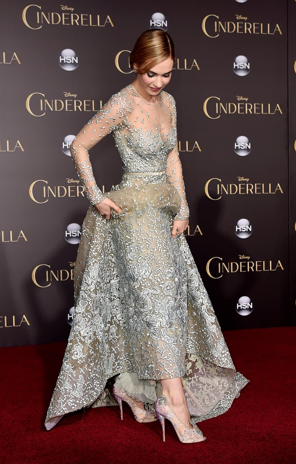 2952dde9850f Why Lily James Has Been Dressing Like a Disney Princess on the Red Carpet