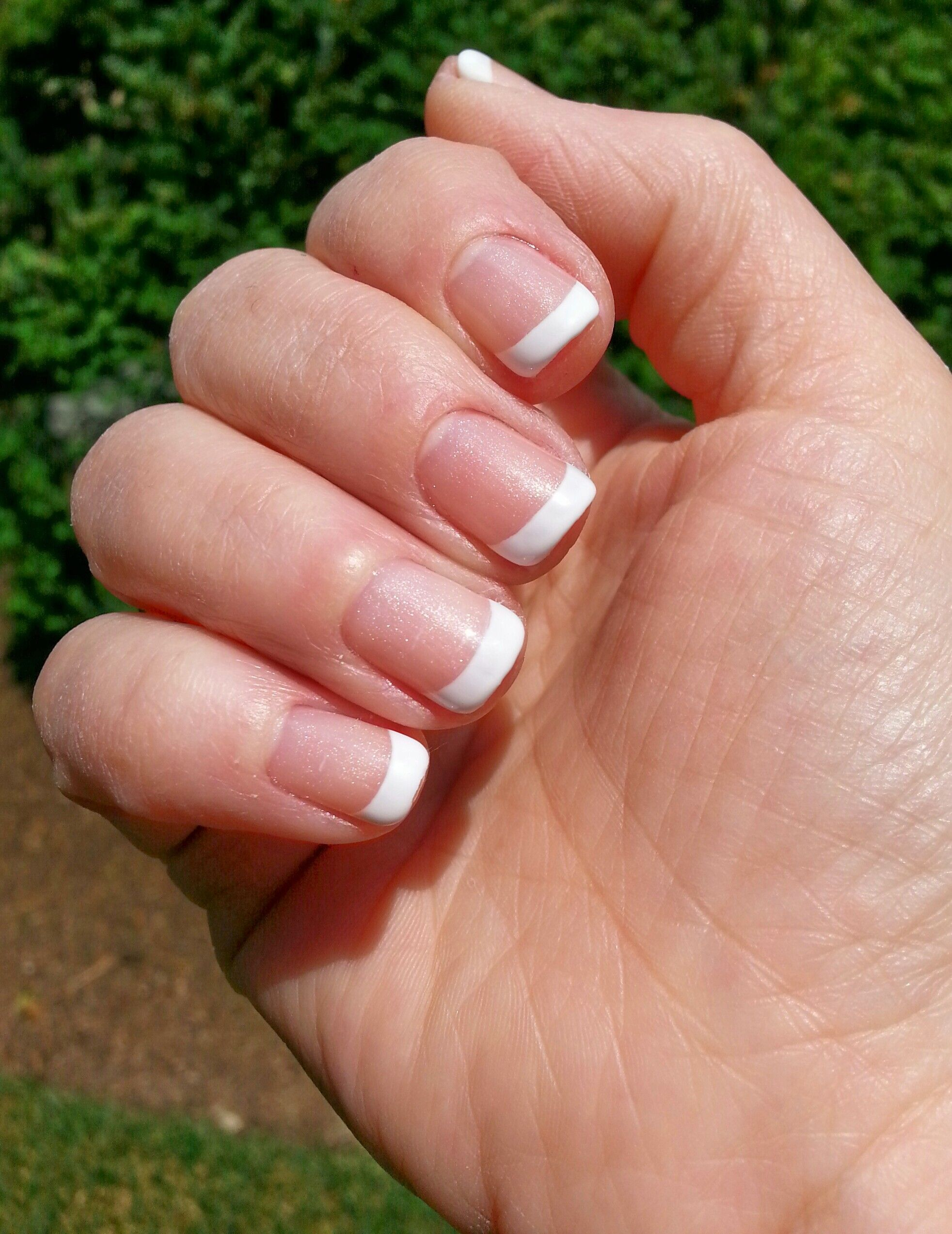 Short, gel, french manicure. Iridescent base, (Cotton Candy). Just ...