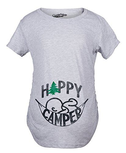 329baa5408dd6 Maternity Happy Camper Funny Camping Baby Bump Pregnancy Announcement T  shirt Grey M -- Want additional info? Click on the image.