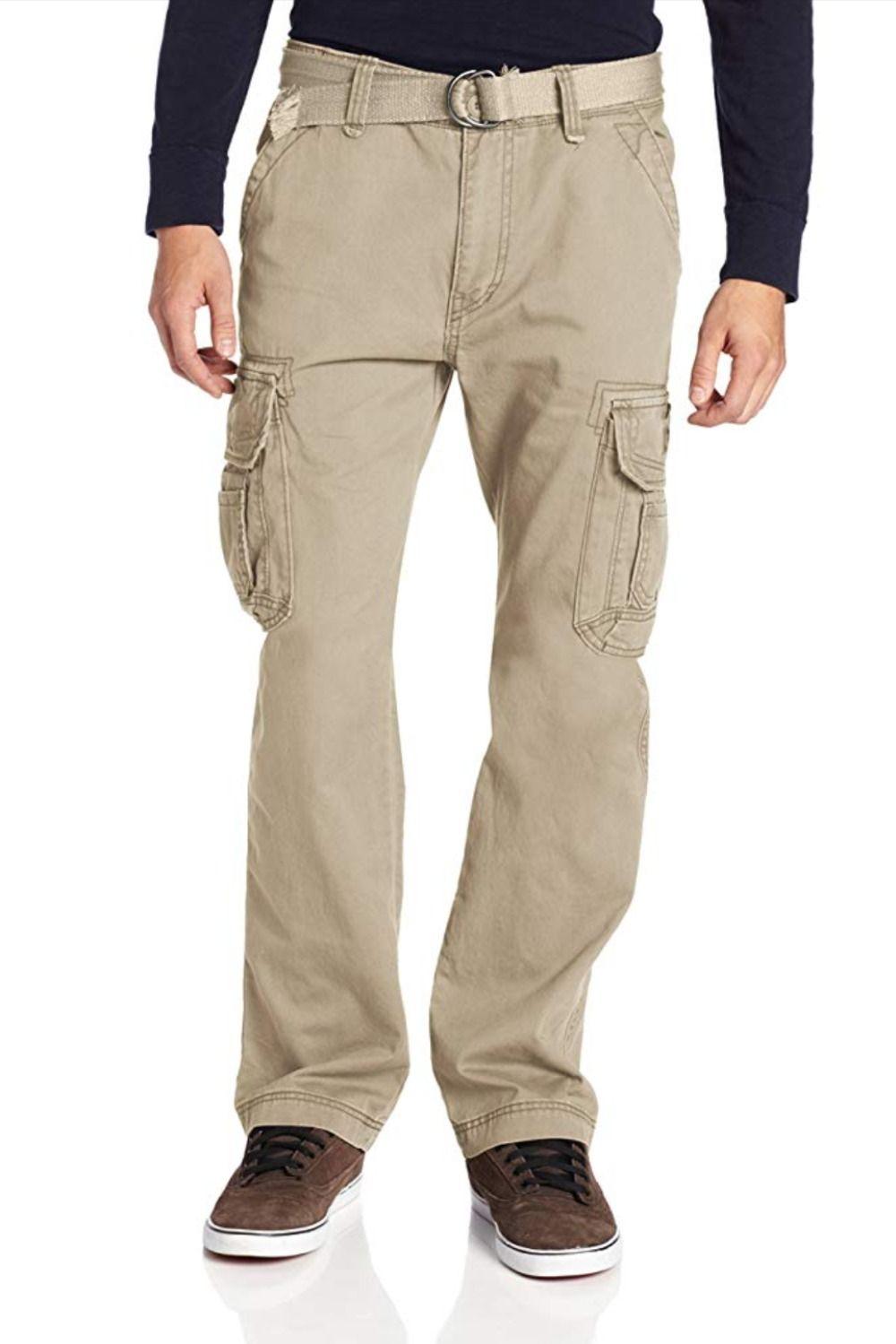Mens Designer Cargo Combat Jeans Straight Leg Denim Casual Pants Big /& Tall Size