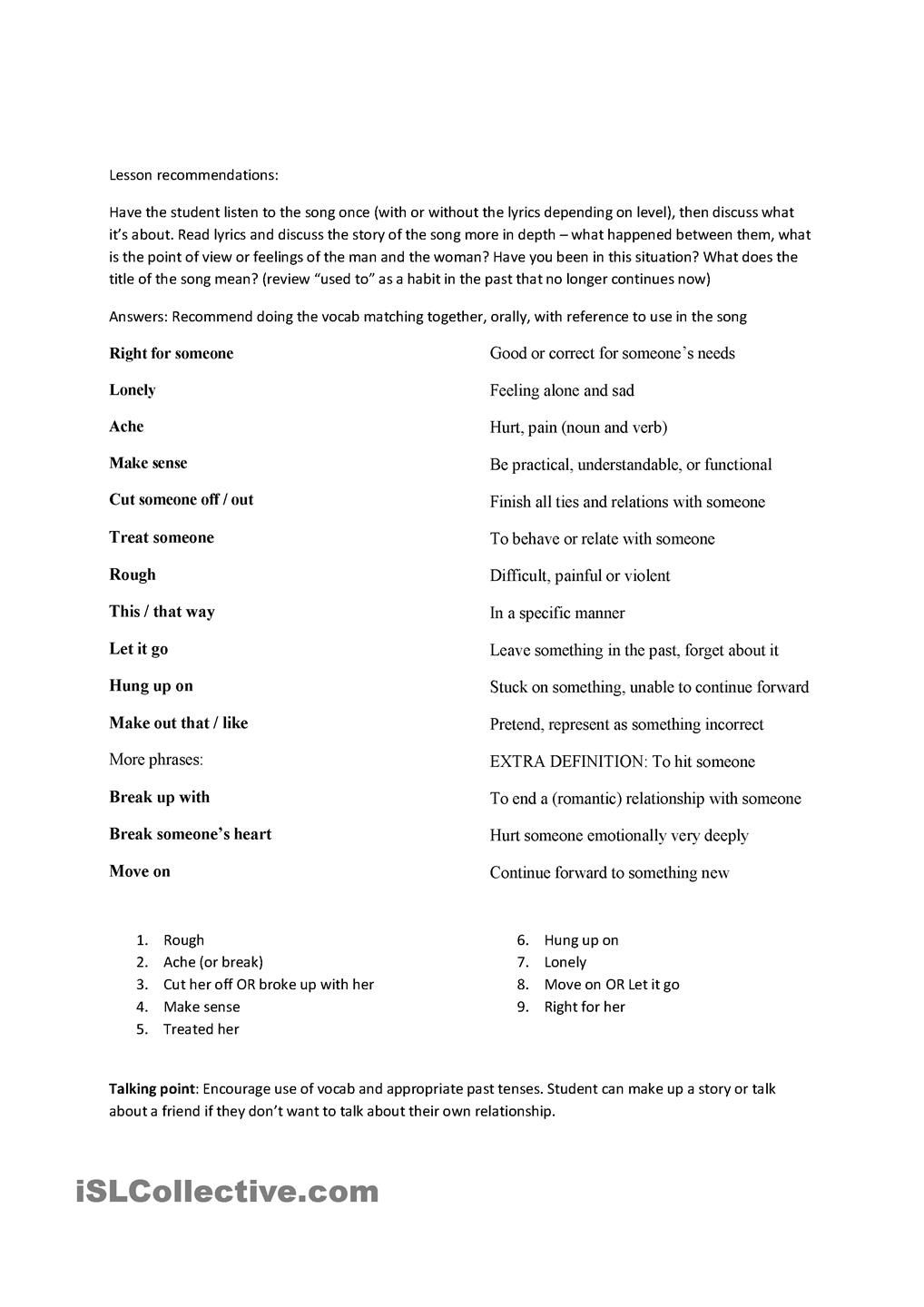 Somebody I Used To Know Song Worksheet Songs Worksheets English Lessons [ 1440 x 1018 Pixel ]