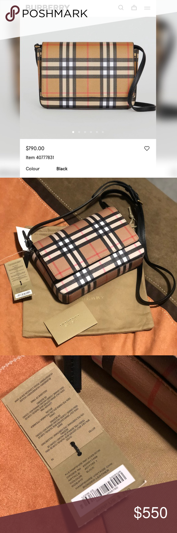 7c19721dd7 Burberry hampshire WOC Authentic and brand new Burberry hampshire vintage  check bonded leather crossbody Bag retails