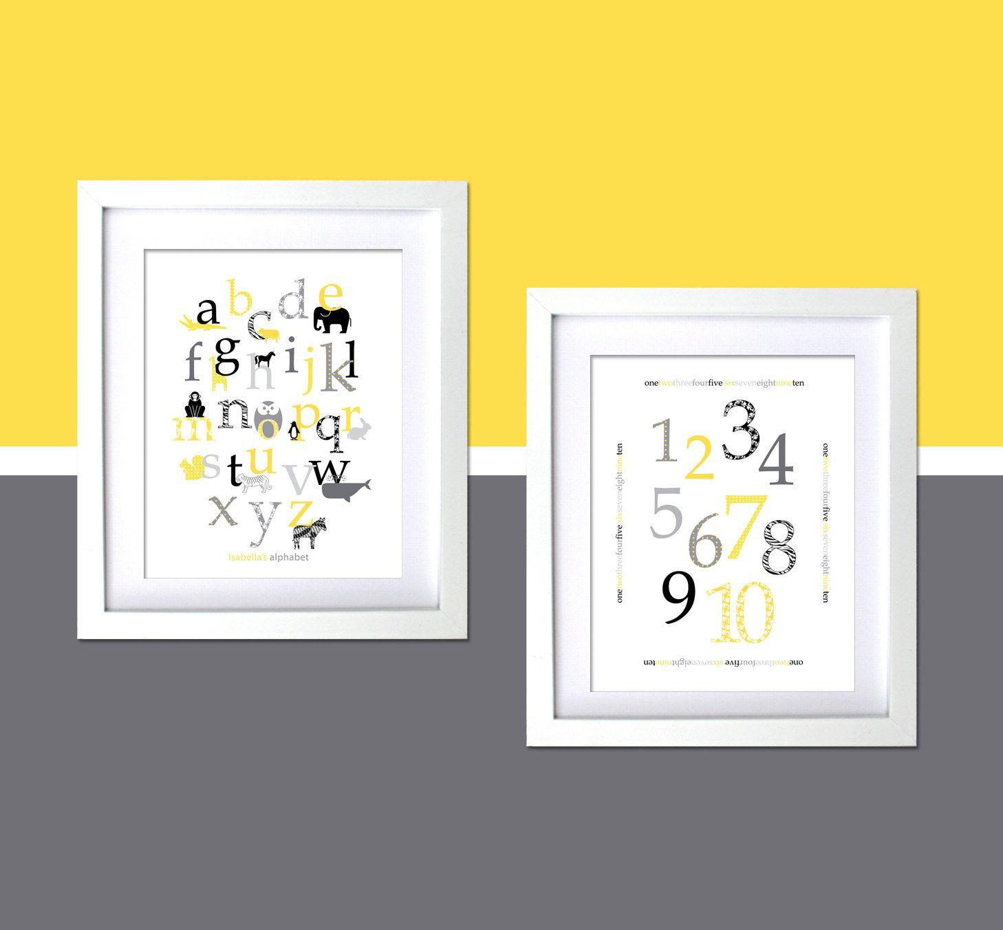 Grey and Yellow Kids Room Wall Decor Art Prints Modern animal ...