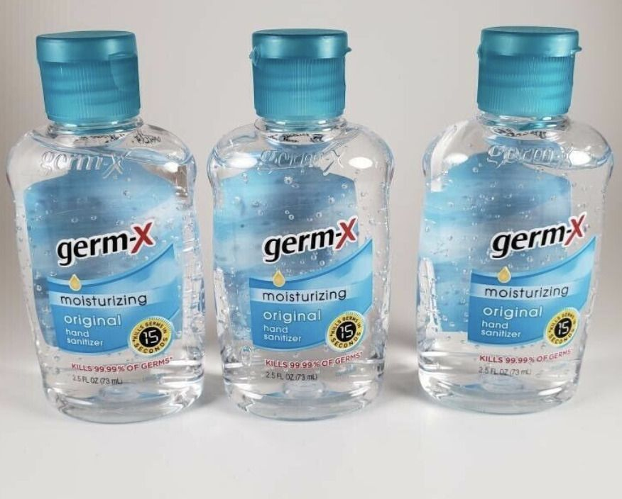 3 Pack Germ X Hand Sanitizer Original Travel Size 2 5 Oz Flip Top