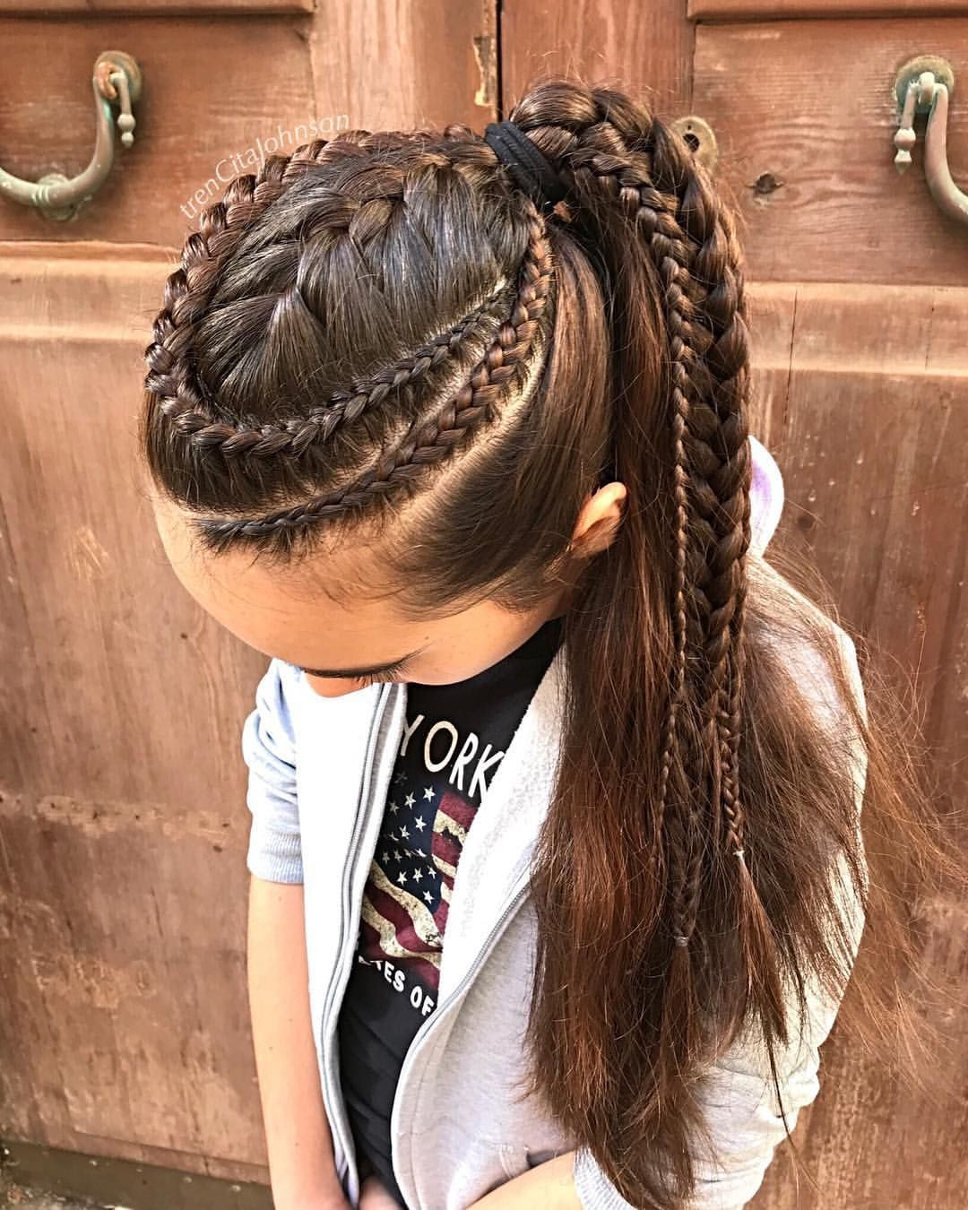 combo of lace braids and a french braid back into a high