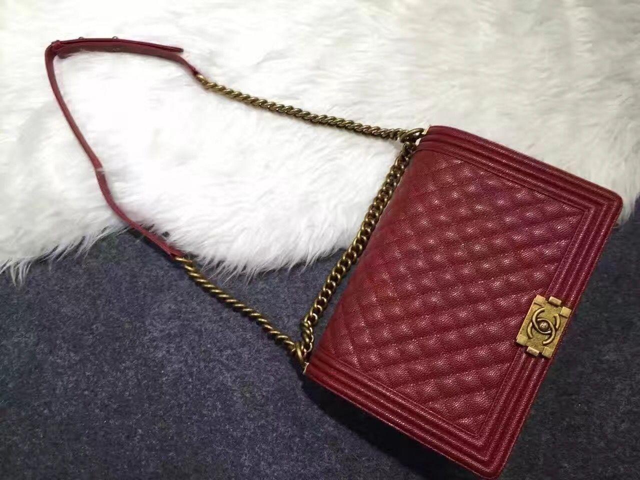 7e142bd0ea82 Chanel Large Original Caviar Leather Le Boy Flap Bag 30cm Burgundy ...