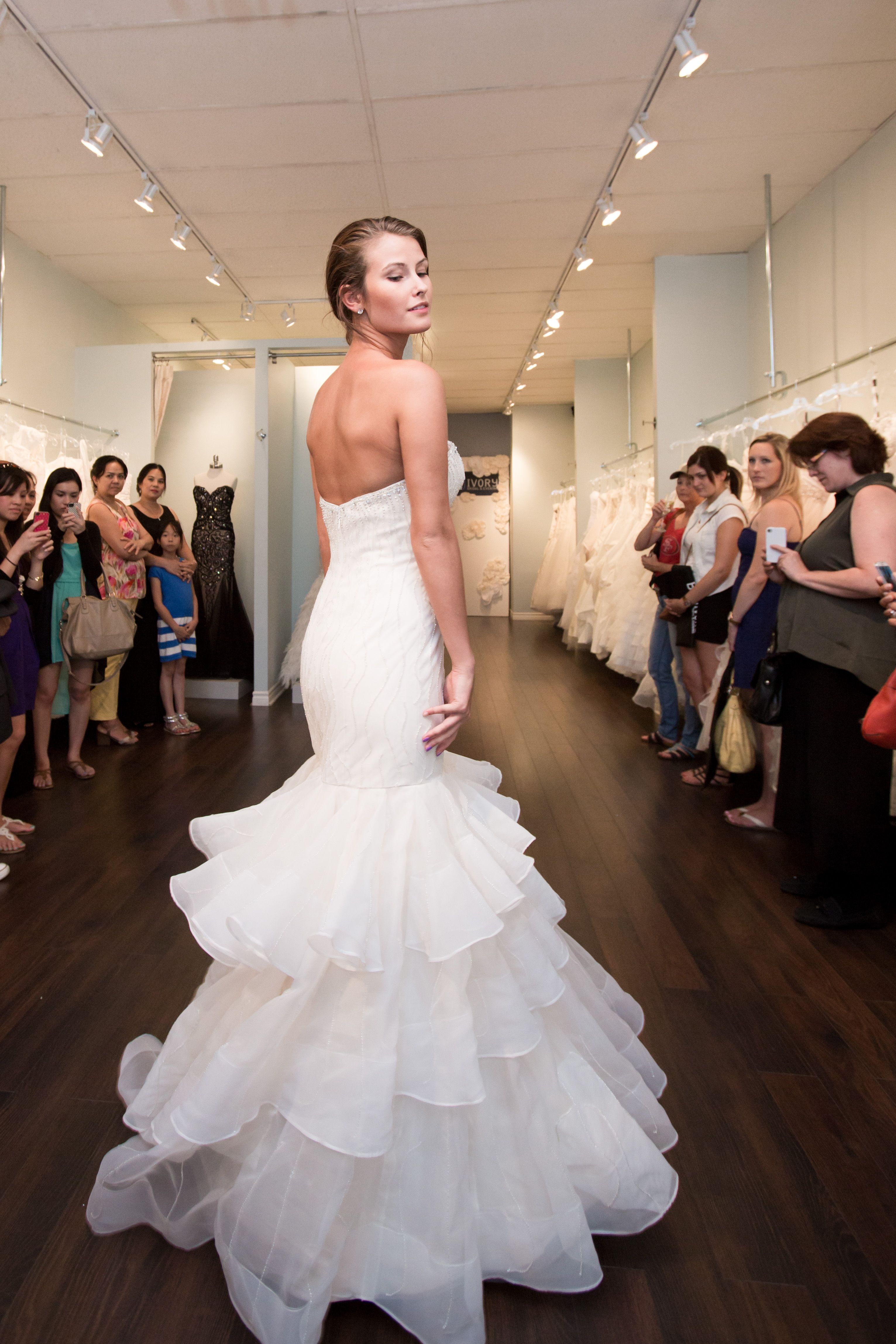 Champagne and ivory wedding dress  wedding dress bride fitted ruffles champagne fashion show