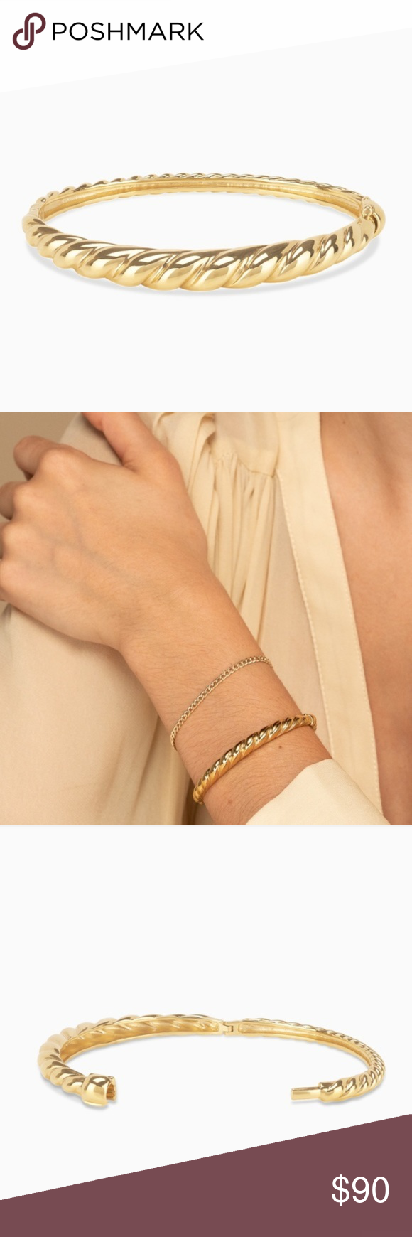 NIB MEJURI CRESCENT DOME BRACELET DETAILS - Made in gold vermeil: a thick 18k… thumbnail