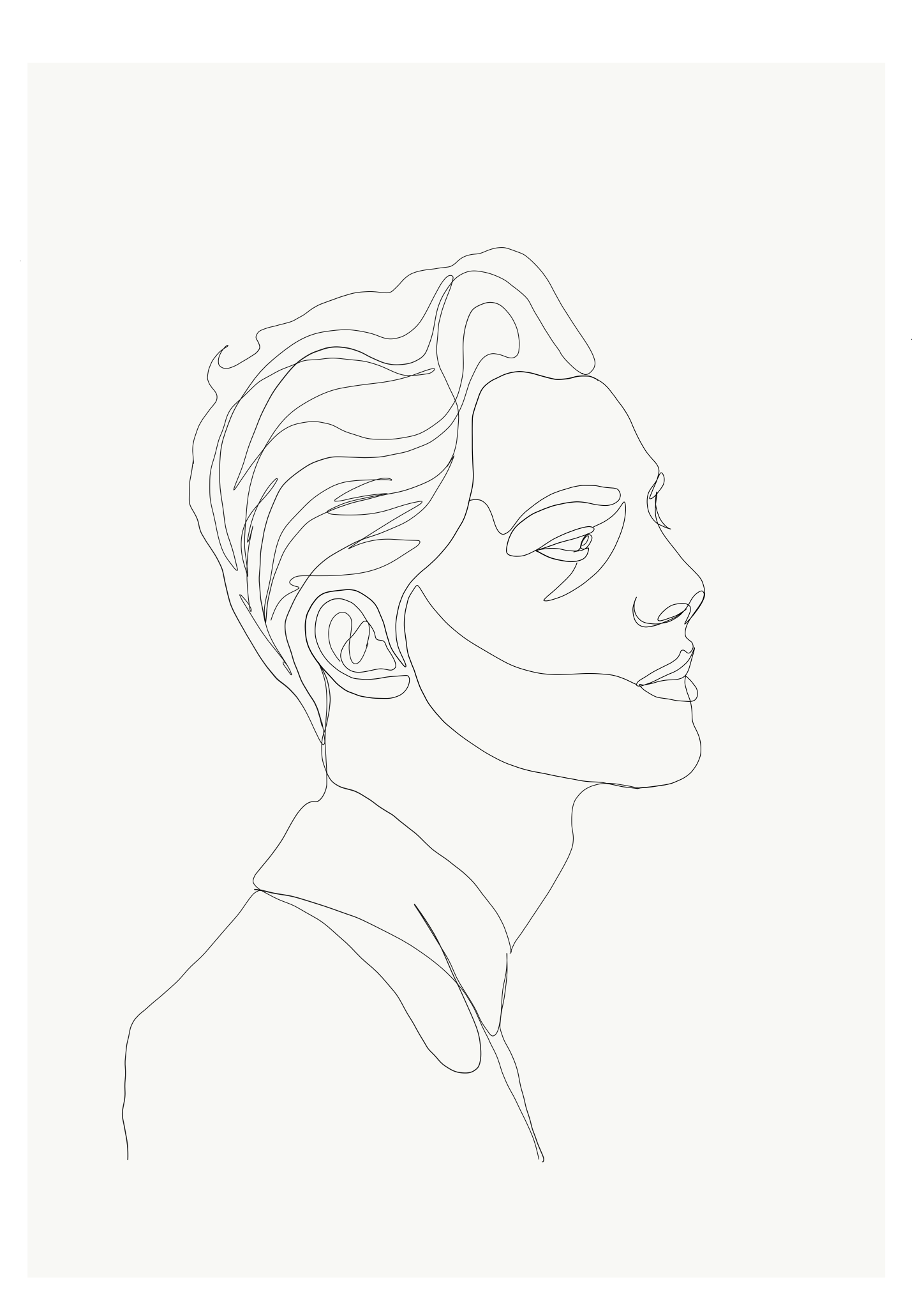 Line Drawing Of Face Profile : Emma ryan single line drawing mans face profile